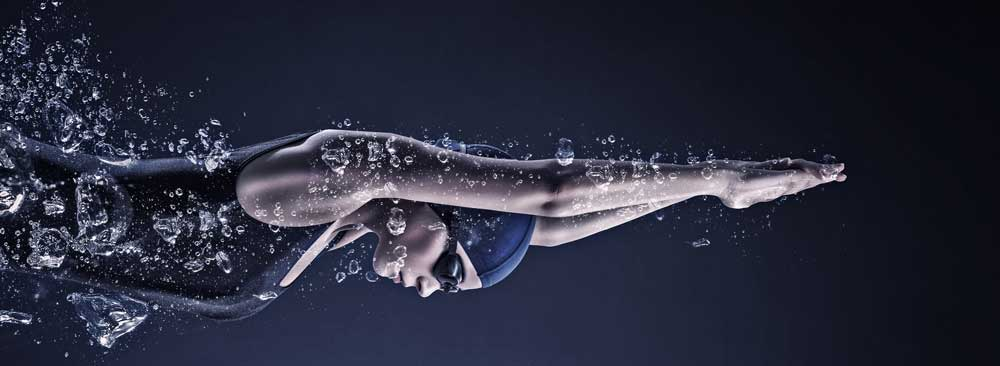 An Athlete swimming underwater